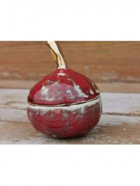 """Keramikos dėžutė """"Auksuotas raudonas obuoliukas"""""""