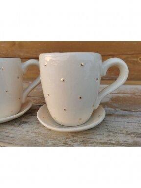 """Keraminis puodelis su lėkštute """"Karališkas"""""""
