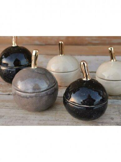 """Keramikos dėžutė """"Auksuotas juodas obuoliukas"""" 4"""