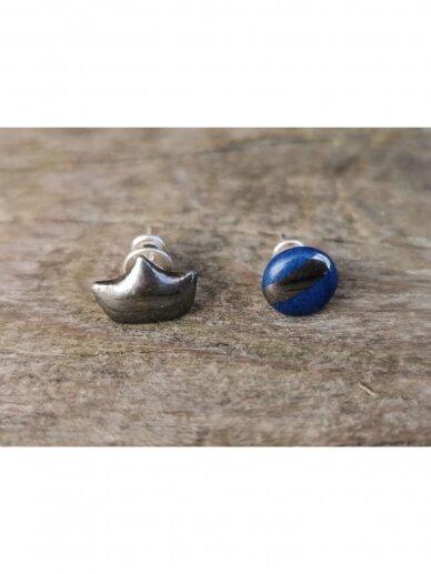 Keraminiai auskarėliai mėlynas ir karūna