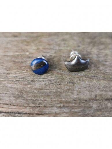 Keraminiai auskarėliai mėlynas ir karūna 2