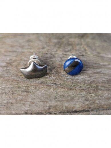 Keraminiai auskarėliai mėlynas ir karūna 3