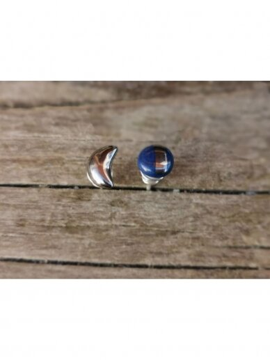 Keraminiai auskarėliai mėlynas ir mėnulis 2