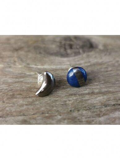 Keraminiai auskarėliai mėlynas ir mėnulis 3