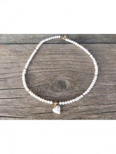 Perlų vėrinys su širdele 2